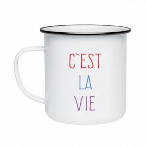 Kubek emaliowane C'est la vie