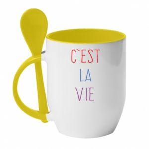 Kubek z ceramiczną łyżeczką C'est la vie