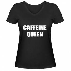 Damska koszulka V-neck Caffeine queen
