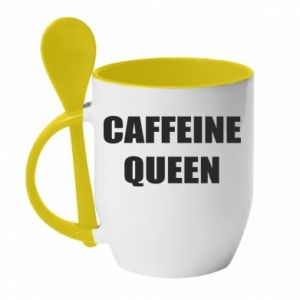 Kubek z ceramiczną łyżeczką Caffeine queen