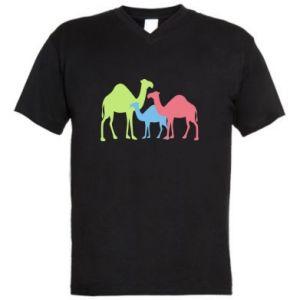 Men's V-neck t-shirt Camel family - PrintSalon