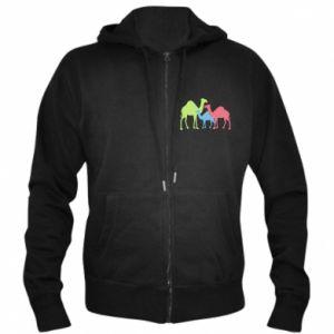 Men's zip up hoodie Camel family - PrintSalon