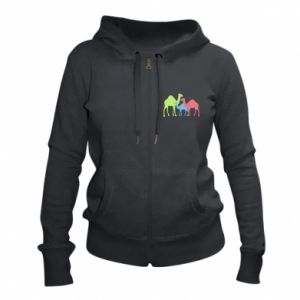 Women's zip up hoodies Camel family - PrintSalon