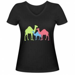 Women's V-neck t-shirt Camel family - PrintSalon