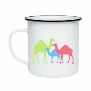 Enameled mug Camel family - PrintSalon
