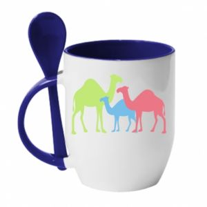 Mug with ceramic spoon Camel family - PrintSalon