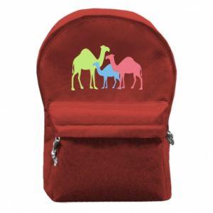 Backpack with front pocket Camel family - PrintSalon