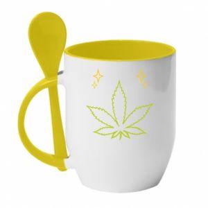 Kubek z ceramiczną łyżeczką Cannabis