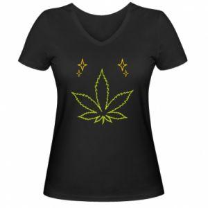 Damska koszulka V-neck Cannabis