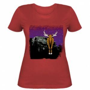 Women's t-shirt Car crashed into a moose