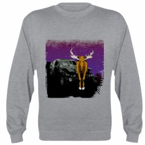 Sweatshirt Car crashed into a moose - PrintSalon