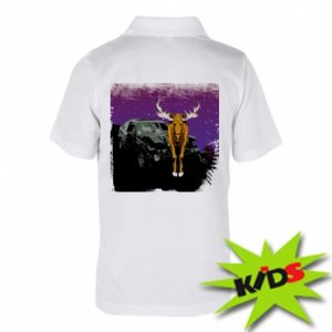 Koszulka polo dziecięca Car crashed into a moose
