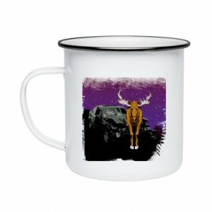 Enameled mug Car crashed into a moose - PrintSalon