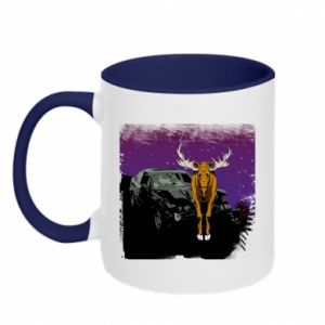 Two-toned mug Car crashed into a moose - PrintSalon