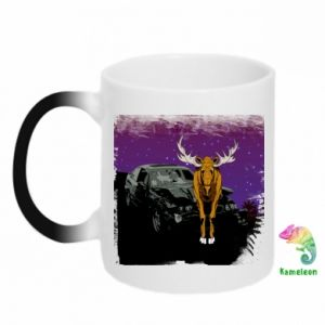Chameleon mugs Car crashed into a moose - PrintSalon
