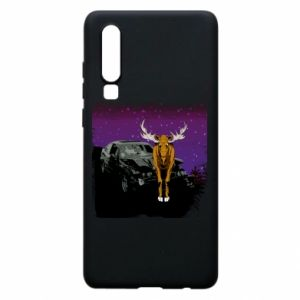 Phone case for Huawei P30 Car crashed into a moose - PrintSalon