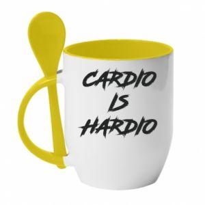 Kubek z ceramiczną łyżeczką Cardio is hardio