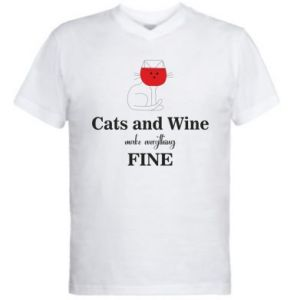 Men's V-neck t-shirt Cat and wine make everything fine
