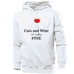 Men's hoodie Cat and wine make everything fine