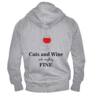 Męska bluza z kapturem na zamek Cat and wine make everything fine