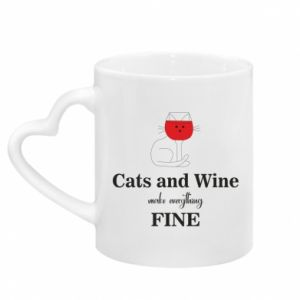Mug with heart shaped handle Cat and wine make everything fine