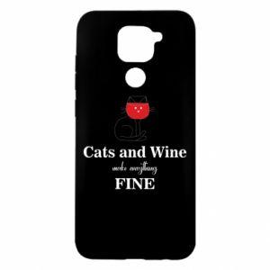 Etui na Xiaomi Redmi Note 9/Redmi 10X Cat and wine make everything fine