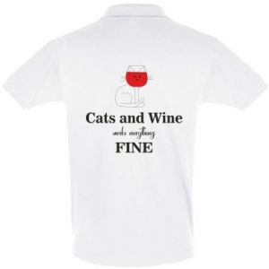 Koszulka Polo Cat and wine make everything fine