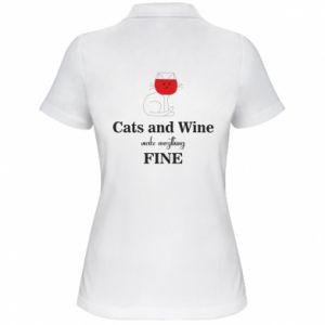 Koszulka polo damska Cat and wine make everything fine