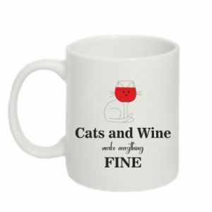 Kubek 330ml Cat and wine make everything fine