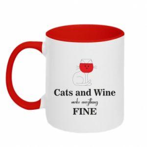 Kubek dwukolorowy Cat and wine make everything fine
