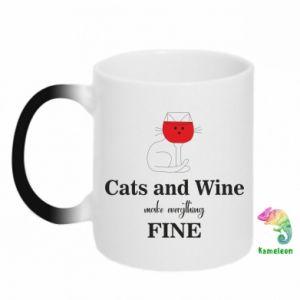 Kubek-kameleon Cat and wine make everything fine