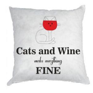 Poduszka Cat and wine make everything fine