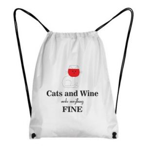 Plecak-worek Cat and wine make everything fine
