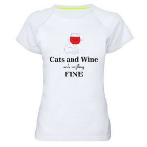Women's sports t-shirt Cat and wine make everything fine