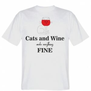 T-shirt Cat and wine make everything fine