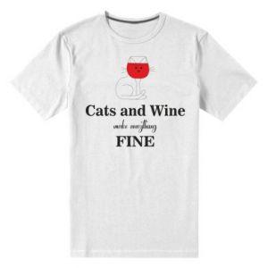 Męska premium koszulka Cat and wine make everything fine