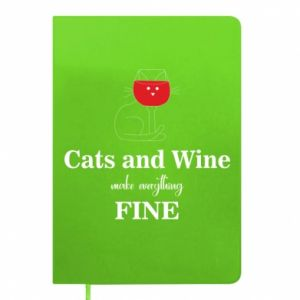 Notepad Cat and wine make everything fine