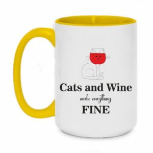 Two-toned mug 450ml Cat and wine make everything fine