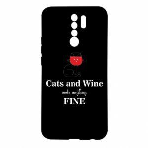 Etui na Xiaomi Redmi 9 Cat and wine make everything fine