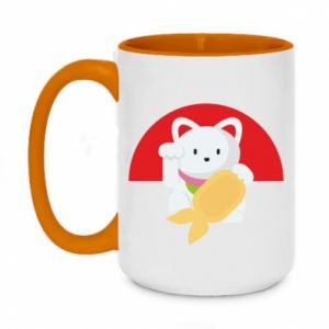 Two-toned mug 450ml Cat for luck