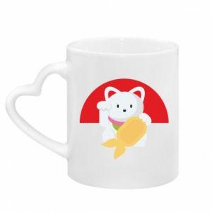 Kubek z uchwytem w kształcie serca Cat for luck