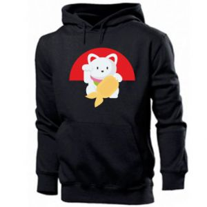 Men's hoodie Cat for luck