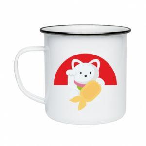 Enameled mug Cat for luck