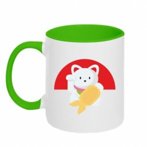 Two-toned mug Cat for luck