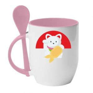 Mug with ceramic spoon Cat for luck - PrintSalon