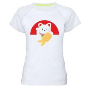 Women's sports t-shirt Cat for luck