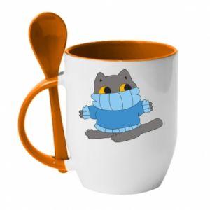 Kubek z ceramiczną łyżeczką Cat in a sweater