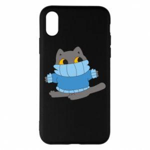 Etui na iPhone X/Xs Cat in a sweater