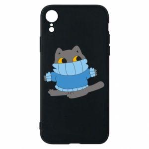 Etui na iPhone XR Cat in a sweater