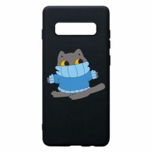 Etui na Samsung S10+ Cat in a sweater